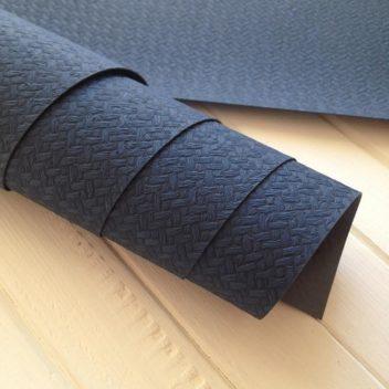 Темно-синий текстурный кожзам с тиснением Плетеная корзина