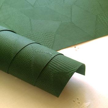 Зелёный кожзаменитель с тиснением Печворк