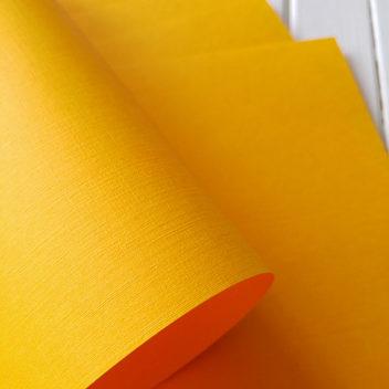 Бумага с тиснением Лён ярко-желтая