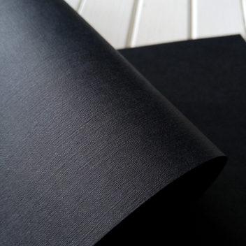 Бумага с тиснением Лён черная