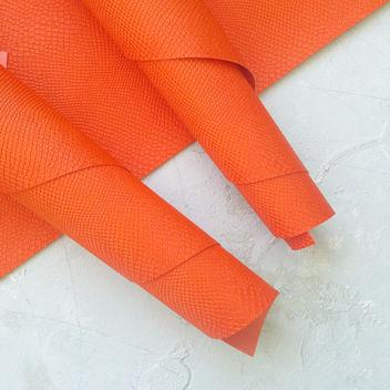 Ярко-оранжевый кожзаменитель Питон