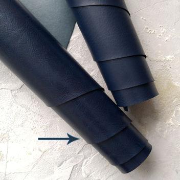 Глянцевый тёмно-синий переплетный кожзам