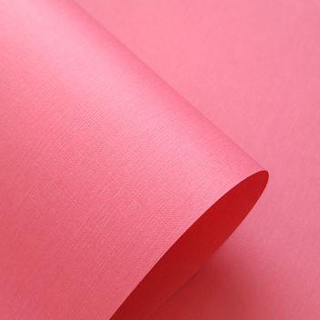 Бумага с тиснением Лён ярко-розовая
