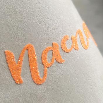 Неоновая оранжевая термотрансферная пленка с глиттером