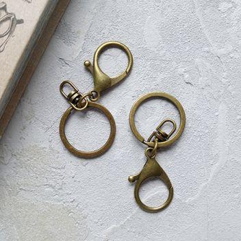Кольцо с карабином бронзовое