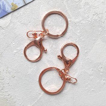Кольцо с карабином цвет розовое золото