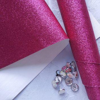 Ткань с глиттером Ярко-розовая 50х34см