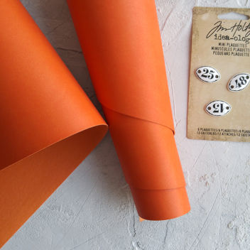 Оранжевый переплетный кожзаменитель