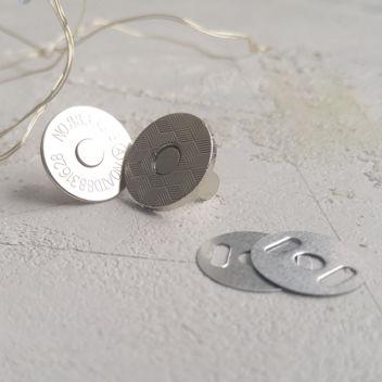Тонкая магнитная застежка (серебро) 18мм