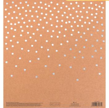 Бумага для скрапбукинга крафтовая с голографическим тиснением «Горошек», 20 × 21,5 см, 300 г/м