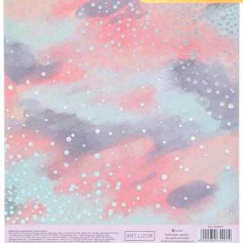 Бумага для скрапбукинга с фольгированием «Акварель», 15.5 × 17 см, 250 г/м
