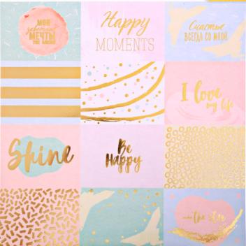 Бумага для скрапбукинга с фольгированием «Счастье всегда со мной», 30.5 × 30.5 см, 250 г/м