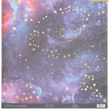 Бумага для скрапбукинга с голографическим фольгированием «Космос», 30.5 × 32 см, 250 г/м