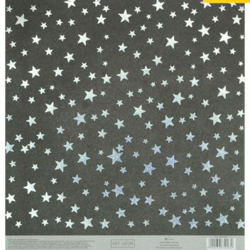 Бумага для скрапбукинга с голографическим фольгированием «Звёзды», 20 × 21.5 см, 250 г/м