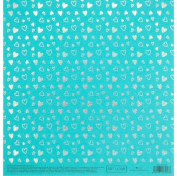 Бумага для скрапбукинга жемчужная с фольгированием «Сердечки», 20 × 21.5 см, 250 г/м