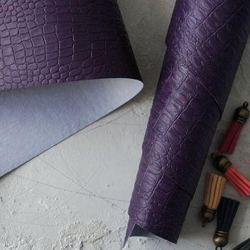 Тёмно-фиолетовый кожзаменитель Крокодил