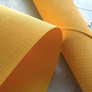 Кожзаменитель ярко-жёлтый с тиснением под холст