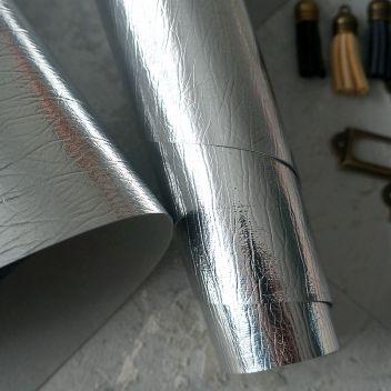 Кожзам серебряный полузеркальный