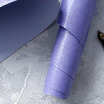 Голубовато-сиреневый глянцевый кожзаменитель под шевро (Барвинок)