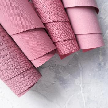 Тёмно-розовый кожзаменитель с текстурой Питон, Крокодил, Джинса, мятая кожа Мантуя