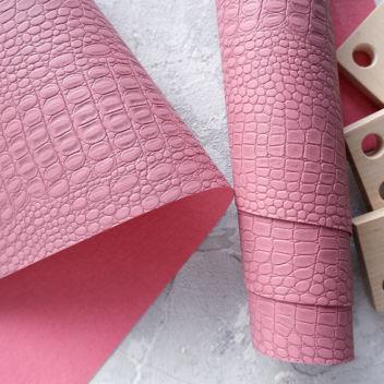 Тёмно-розовый кожзаменитель Крокодил