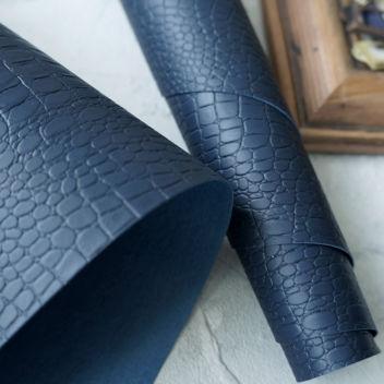 Джинсовый тёмно-синий кожзаменитель Крокодил