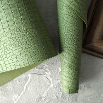 Яблочно-зеленый кожзаменитель Крокодил