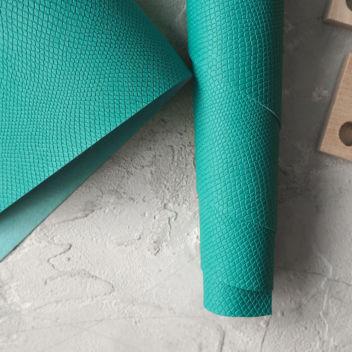 Зелено-бирюзовый кожзаменитель Питон