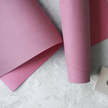 Тёмно-розовый кожзаменитель с тиснением Рогожка