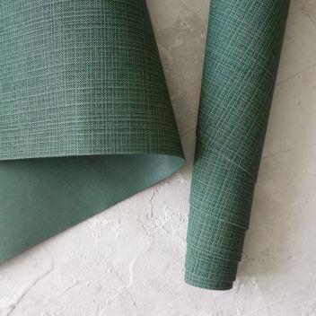 Кожзаменитель тёмно-зеленый с тиснением под холст