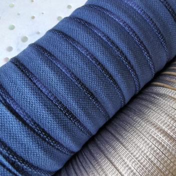 Ляссе Серебро 4,5мм Каптал с глянцевой тёмно-синей кромкой 14мм 1м